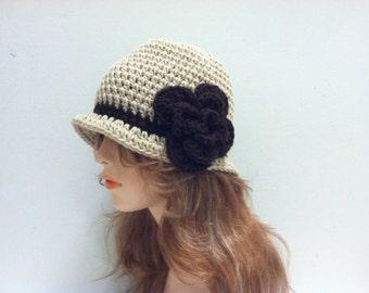 Crochet Cloche Flapper Hat - LACE/ESPRESSO