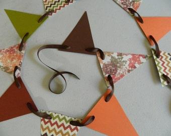 Paper Garland / Fall Garland / Fall  Garland / Fall Banner / Thanksgiving Decoration / Chevron decor / Fall Photo Prop