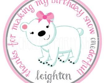 SET OF 12, Winter Polar Bear Favor Tags