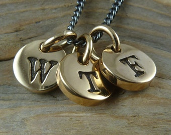 WTF Necklace - Bronze WTF Initial Necklace, Dammit
