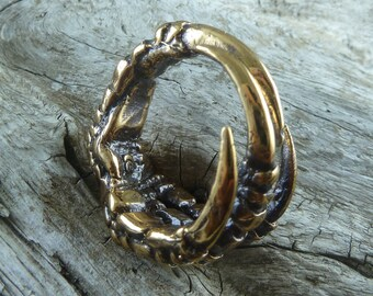 Crow Claw Ring - Bronze Bird Claw Ring - Talon Ring