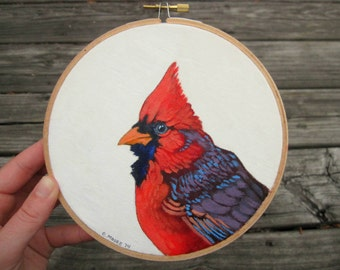 "Embroidery Hoop Art - Cardinal Bird Original Acrylic Painting - Woodland Nursery Decor - 6"" Embroidery Hoop Made to Order"