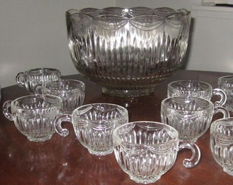 "Vinage Lancaster Glass Co ""ROYAL"" drape Punch Bowl Set with 16 cups/Party set,charming,Shabby Chic,tabletop"