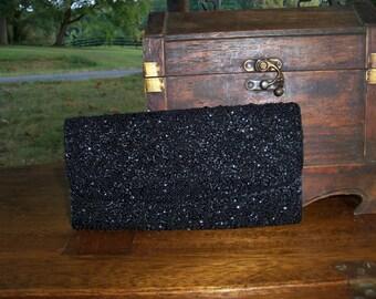 Beaded Clutch Vintage Hand Bag Black In Satin & Jet Formal Accessory Find