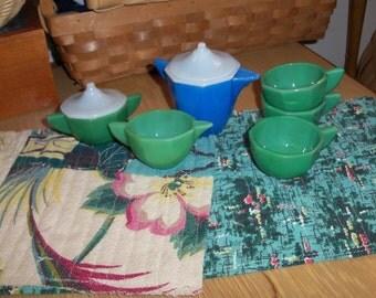 Jadite Tea Set AKRO Children's Size Antique Mid Century Toy