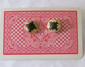 Vintage Style Gold and Black Post Backed Earrings