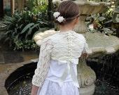 Girls Lace Shrug, baby girl bolero jacket, knitted shrug 1-10 years, wedding, christening, baptism, flower girl, bridesmaid