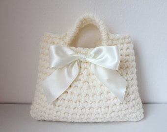 Little Girl Little  Purse in ivory with ribbon