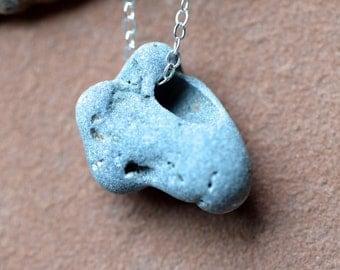 Sea Stone Necklace, Delicate Sterling Silver Chain