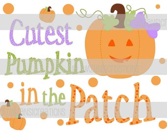 """DIY Printable """"Cutest Pumpkin in the Patch"""" Iron On Transfer (PNG Digital Image)"""