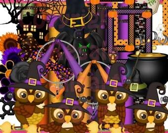 Halloween Owls Scrap Kit Clipart (Digital Download ZIP File)