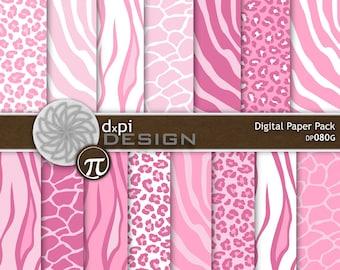 Light Pink Animal Prints - Pink Digital Scrapbook Paper - baby pink zebra, leopard, tiger digital backgrounds - Instant Download (DP080G)