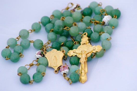 Green Aventurine Gemstone Handmade Catholic Rosary with Cloisonne Our Fathers - Gold Finish Crucifix & Miraculous Medal Center   OOAK