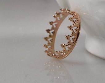 14k SOLID Gold Crown Ring - Filigree Stack Ring- Style 2