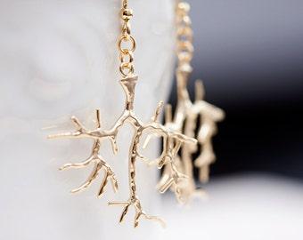 Tree Branch Earrings Tree Dangle Earrings Gold Tree Earrings Whimsical Winter Tree Jewelry - E092