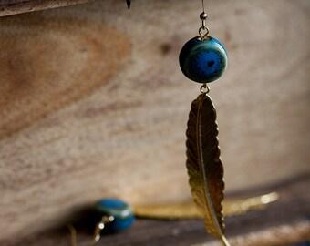 Blue Bead Feather Earrings Boho Peacock Ceramic Beads Long Feather Dangle Bohemian Earrings - E256