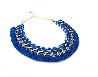 SALE - Blue Crochet Statement Necklace
