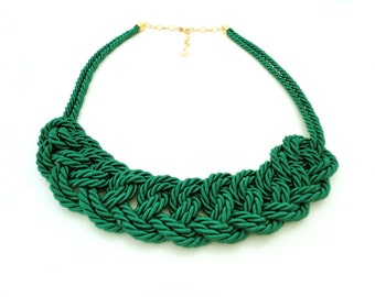 Green Rope Knot Statement Necklace