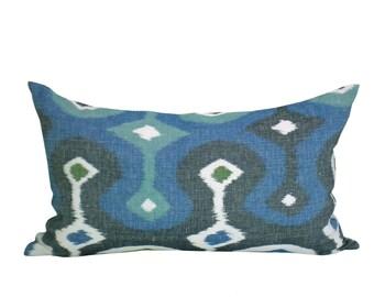 Schumacher Darya Ikat lumbar pillow cover in Sky