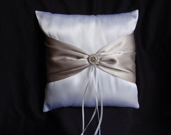 White Silver Platinum Square Satin Ring Bearer Pillow Bow Rhinestones Wedding Bridal