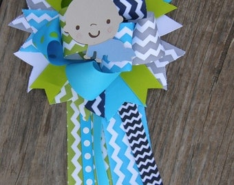 baby shower corsage-chevron baby shower-party theme