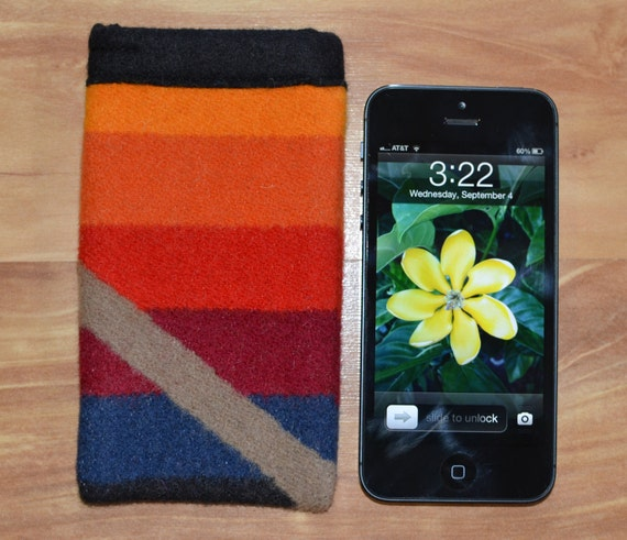 iPhone 5 sleeve - colorful Native American print wool fabric - iPhone won't slip out - tailored to fit 3g 3gs 4 4s 5s and 5c too