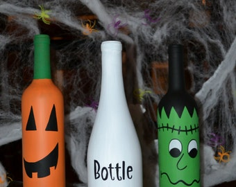 Hand Painted Set of Three Halloween Wine Bottle Decorations