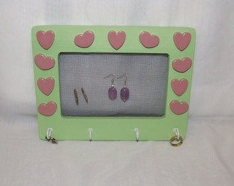 SALE: Hearts Jewelry Holder - Lime Green