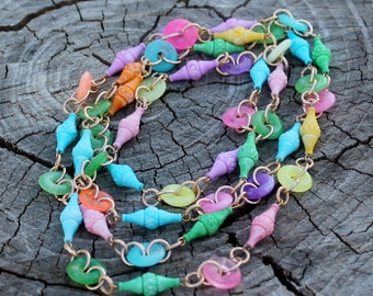 Vintage Colorful Plastic Beads - Ornate decorative Beads and Lifesavor Beads- Candy Necklace