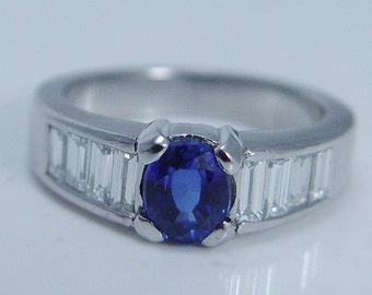 Estate Jewelry Designer Platinum Sapphire VVS/F Diamond Baguettes Band Ring