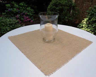 "10 Burlap Table Toppers Size 12"" up to 18""  Table Overlays Burlap Squares"