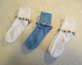 READY TO SHIP - 3 pairs of Girls Cuff Socks with Beaded Trim - Blue and White Socks