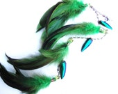 St. Patricks Day electric green goddess grizzly feather with metallic green beetle wing hair extension MADE TO ORDER