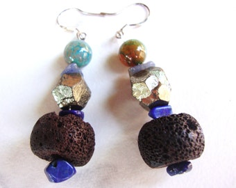 Pyrite,agate,lapiz lazuli volcanic stone, bead earrings sterling silver earhooks