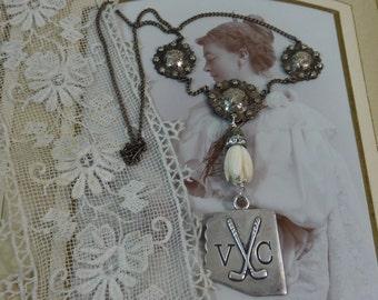 I'M GOLFING,  vintage sterling GOLF medal antique assemblage  necklace