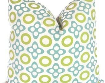 Studio Bon Aqua and Lime X and O Decorative Pillow Cover 18x18, 20x20, 22x22, Euro or Lumbar pillow - Accent Pillow, Throw Pillow