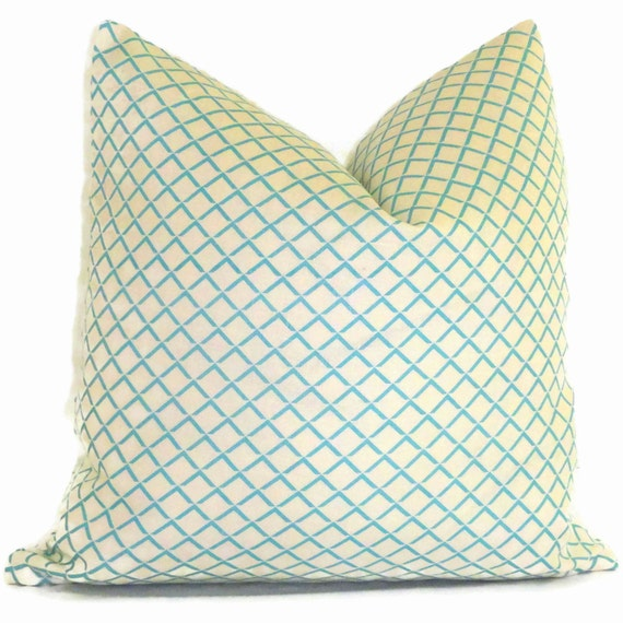 Queen Throw Pillows : Quadrille Venice Blue Terrace Pillow Cover Square or Lumbar