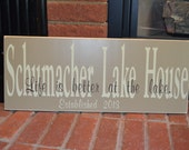 Lake House Christmas Gift Custom Family Lake House Wooden Sign Personalized with family name and Established Year