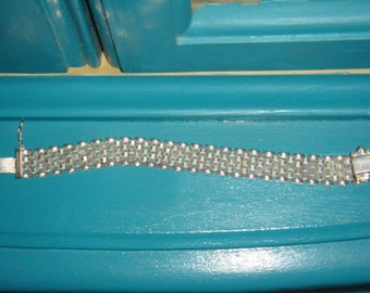 Sterling Silver Mesh or Woven Bracelet 925 Italy 6 3/4