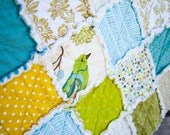 SALE 20% Off, Green and White and Blue Bird Rag Quilt Lovey Security Blanket, READY to ship