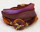 Silk Ribbon, Whirly Wrap, Wrap Bracelet, Paradise Humming, Purple, Orange Brown,  gold hummingbird charm, secure magnet, Double Whirly
