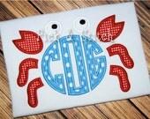Made for Monogram Crab Applique Design Machine Embroidery INSTANT DOWNLOAD