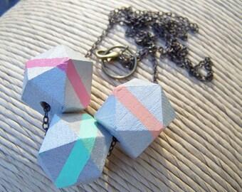 Geometric Wood Bead Necklace
