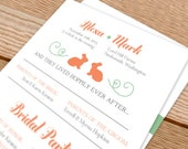 Wedding Programs - invitations, bunnies, bunny, rabbit, carrot, garden wedding, clever, hoppily ever after