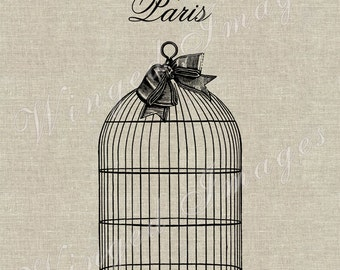 Bird Cage Instant Download Digital Image No.89 Iron-On Transfer to Fabric (burlap, linen) Paper Prints (cards, tags)