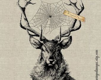Deer Dreamcatcher. Instant Download Digital Image No.103 Iron-On Transfer to Fabric (burlap, linen) Paper Prints (cards, tags)