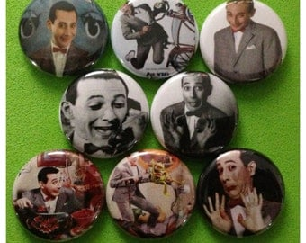 """8 Brand New 1"""" """"Pee Wee Herman"""" Button Set"""