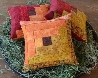 Fall Colors Log Cabin Decorative Pillows - Autumn Leaves Bowl Fillers - Quilted Tucks - Red Orange Gold - Seasonal Home Decor