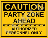 Instant Download - Caution Construction Bithday Party Sign 8.5 x 11 - You Print Yourself PDF