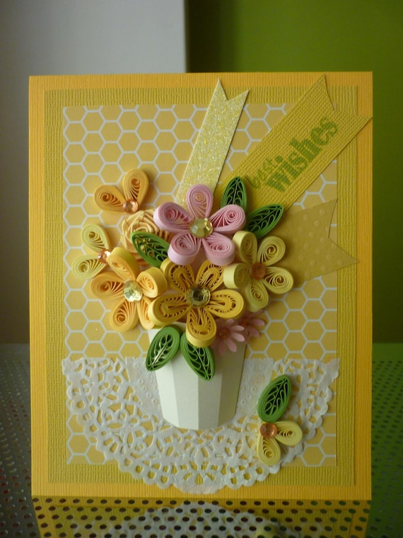 handmade yellow greeting paper quilling card best